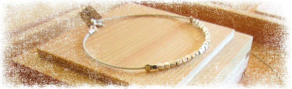 Bracelet en soie et argent
